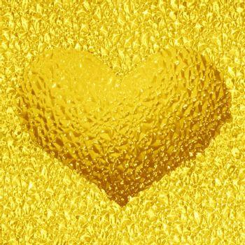 frozen gold heart with crystals in 3d