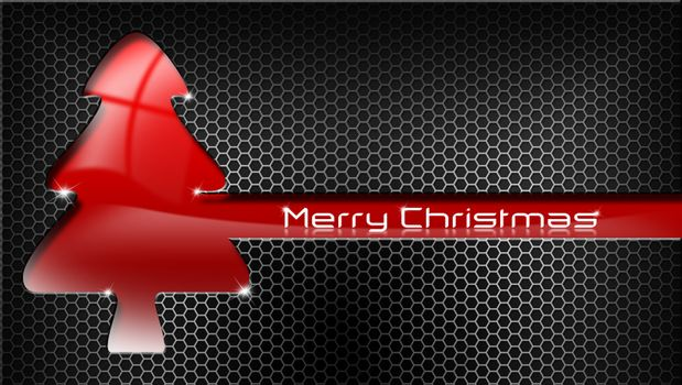 Red and stylized Christmas tree with reflections on black and metal background