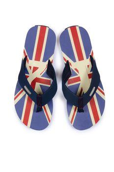 Flip flops with UK britain flag on white