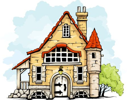 fairytale old house in retro style vector illustration isolated on white background EPS10. Transparent objects used for shadows and lights drawing.