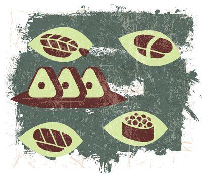 Vintage Sushi illustration with Grunge Effect