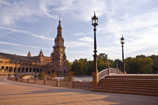 Plaza de Espana in Sevilla at sunset