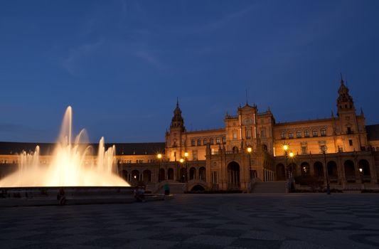 Plaza de Espana in Sevilla at night