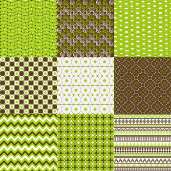 Set of backgrounds in green and browm