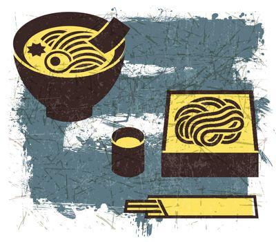 Vintage Japanese noodles illustration with Grunge Effect