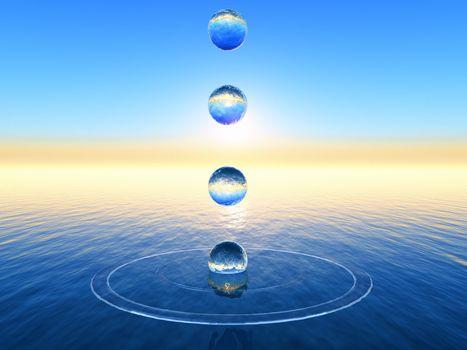 water bubble in 3D rendering