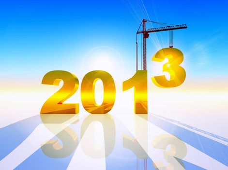 conceptual composition of the new year