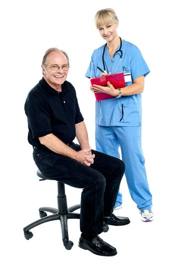Pleasing doctor collecting patient's health history