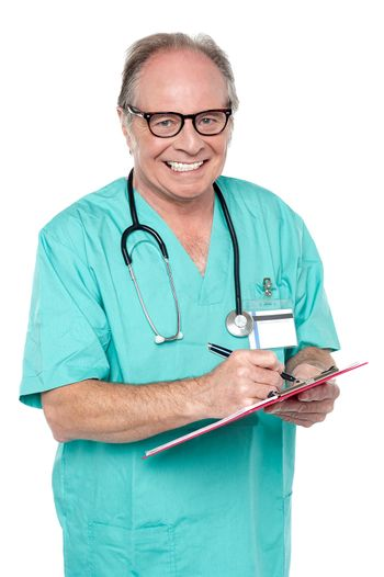 Cheerful doctor gathering information from patient