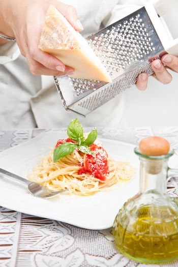 itakian pasta with grated parmesan