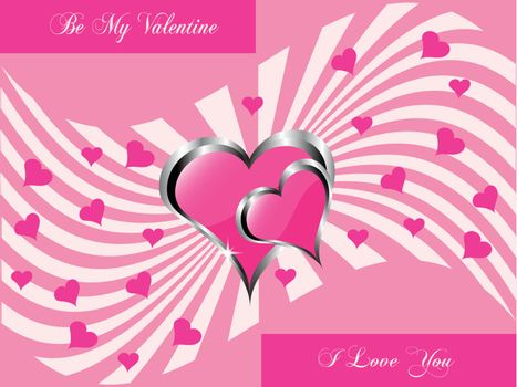 A vector valentines background  a large central hearts on a pink swirl pattern