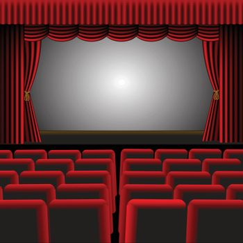 A vector illustration of a cinema or theatre with red upholstery