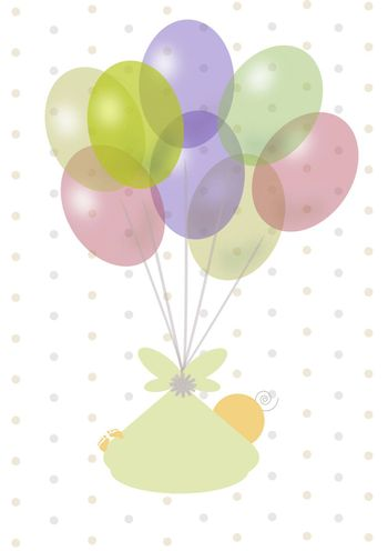 newborn that flies attached to the toy balloons