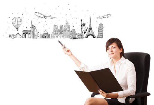 Young woman presenting famous cities and landmarks