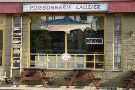 Canada, Quebec, fishmonger in the village of Kamouraska