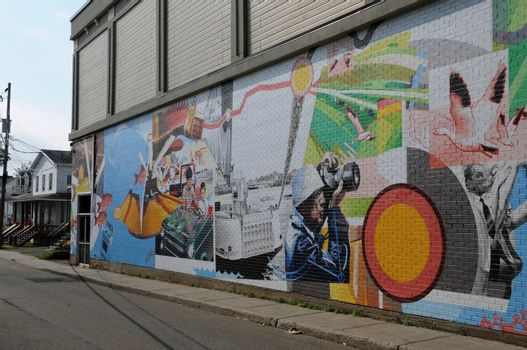 Canada; Quebec, wall painting in the city of Montmagny