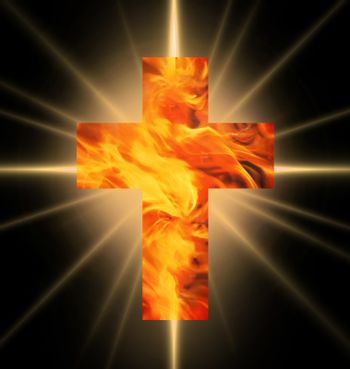 Burning Cross of red and yellow  fire against burning rays