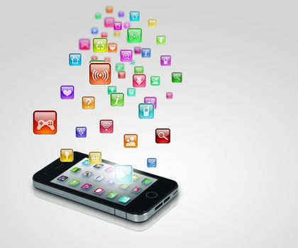 Media technology illustration with mobile phone and icons