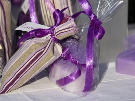 lavender soap and bag with lavender flowers