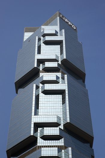 Modern office building in the financial district of Hong Kong.