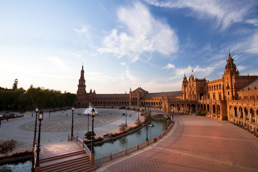 charming Plaza de Espana in Seville at sunset