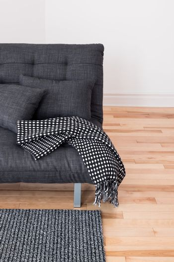 Gray sofa with cushions and throw