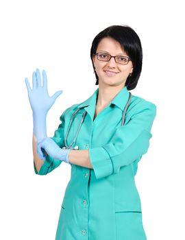 doctor wears a glove