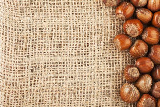 Hazelnuts and  Burlap