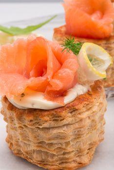 Vol-au-vent with salmon