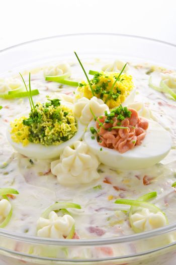 full eggs with vegetable salad