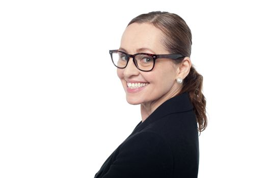 Side profile of a woman wearing spectacles