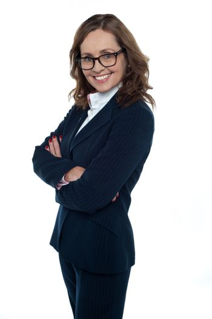 Confident entrepreneur posing sideways