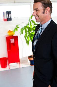 Boss walking into new office