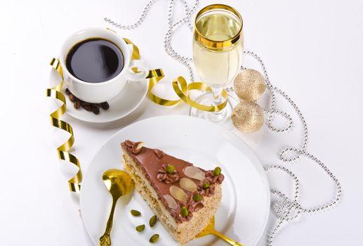 Halva cake, Kaffe and champagne