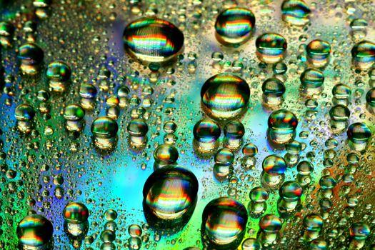 multicolored waterdrops