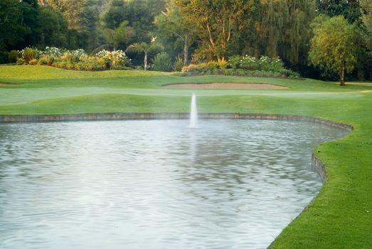 Golf Green with Water Hazard