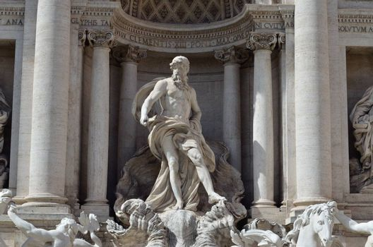 The statue of Neptune, part of the Trevi Fountain, Rome