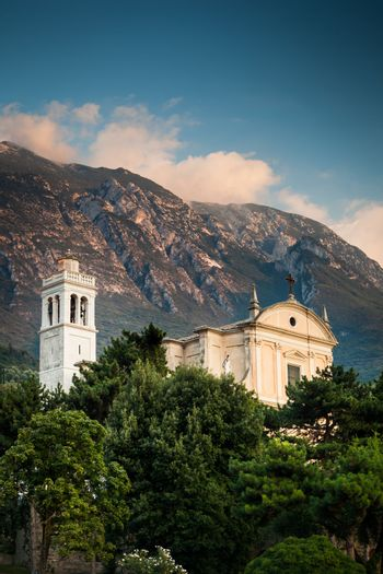 View of the parish church of Santo Stefano in  Malcesine, Italy