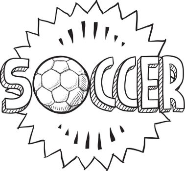 Doodle style soccer or football illustration in vector format. Includes text and soccer ball.
