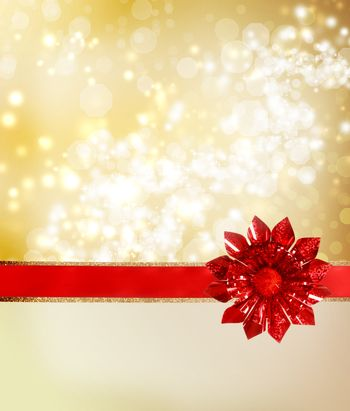 Red Bow and Ribbon with Golden Lights
