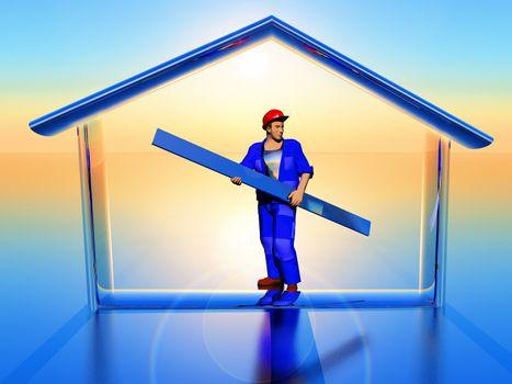 a worker inside a house shape in 3D rendering