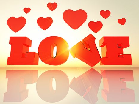 the word love in 3 d letters