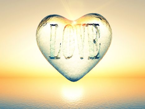 The word love inside a transparent heart