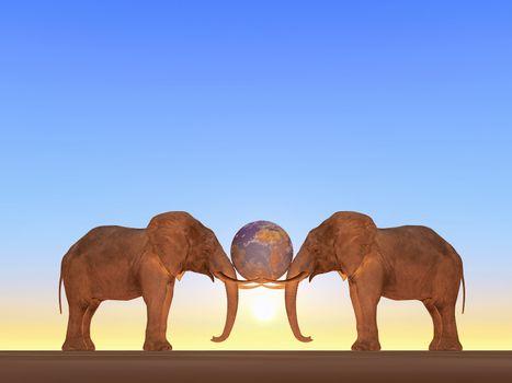 the planet earth between two elephants