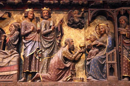 Nativity Scene, Adoration of the Magi, Paris, Notre Dame cathedral