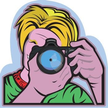 This illustration shows a man taking a picture. He's holding a camera watching into it to focus the snap. Everything  is grouped and divided into different layers.