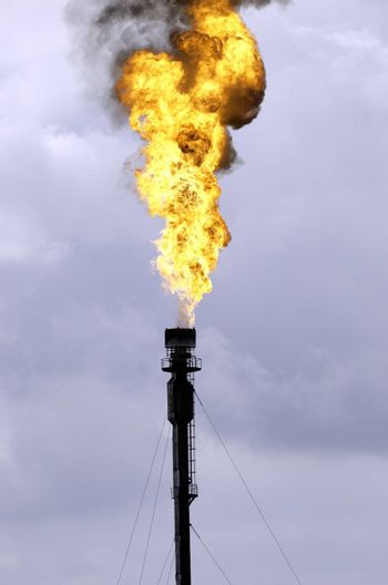 A flare in the petrochemical industry.