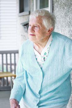 Senior lady on the porch