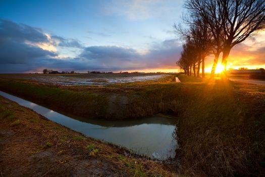 sunbeams at sunrise in farmland