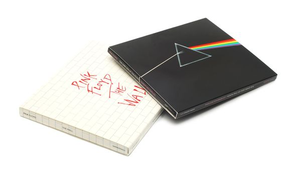 Caransebes, Romania - November 18, 2012 - Music cd's, two of Pink Floyd's best selling albums, The Wall (1979) and Dark Side Of The Moon (1973)